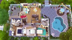 "jenba: "" Mid Mod Ranch V2 This is a CC-free and slightly updated version of my Mid Mod Ranch, which I edited for my Maristella project. Even though I added some new decor, I tried to keep it to only a..."