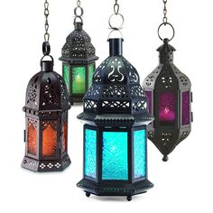 These Moroccan - inspired lanterns would be perfect inside or outside.