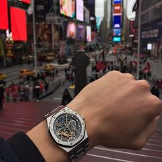 Welcoming @birkinbros to Instagram! Here's my friend P wearing a Royal Oak Skeleton in Times Square 👌 #whatchs