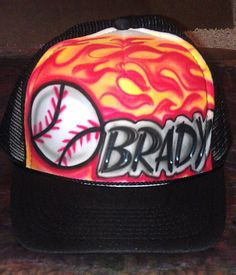 2d9b2a3b732 Items similar to Airbrushed Custom Trucker Hat Baseball Team Sport Flames  Fire  Adutl or Youth   Black or White Snapback Cap   Your Favorite Colors  on Etsy