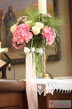 Kirchendeko Blumen Vase Altar rosa weiß Hochzeitsdeko Tischdeko Hochzeit individuell hangemacht handmade