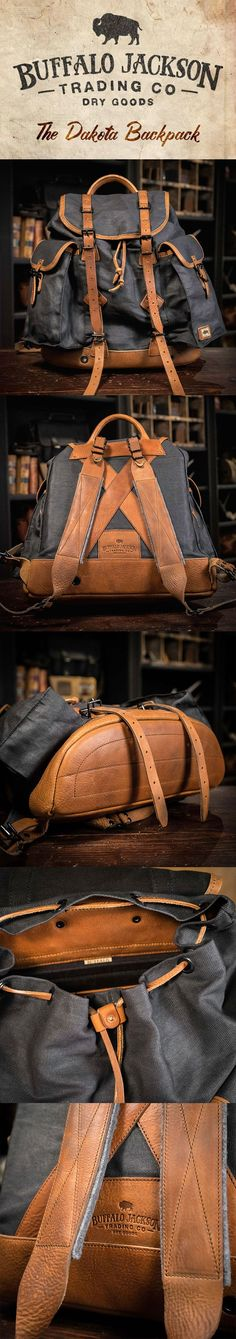 Crafted of waxed canvas and full grain leather with a distressed vintage finish, this men's vintage military rucksack was built to honor the memory of good men and good days. Also available in tan (shown here in charcoal). vintage military backpack   vintage army rucksack