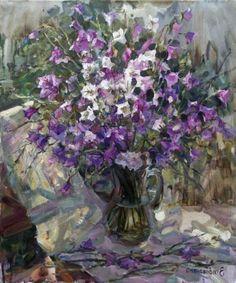 Elena Salnikova. Les clochettes de mon jardin. Huile sur toile. 60 x 50