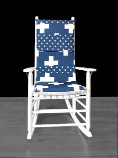 Navy Blue Swiss Cross Rocking Chair Cover, Cross Polka Dot Seat Covers | affordable, designer, custom, handmade, trendy, fashionable, locally made, high quality Rocking Chair Covers, Rocking Chair Cushions, Ikea Kids Room, Navy Blue, Blue And White, Kids Room Organization, Kids Room Design, Slipcovers For Chairs, Seat Covers