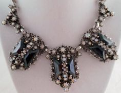 Vintage rhinestone necklace Vintage black and silver by Rumis