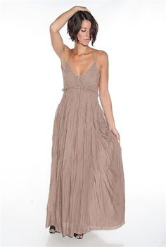 Back in the Groove Open Back Maxi Dress - Mocha from Miss Avenue at Lucky 21