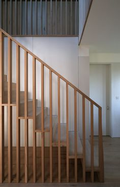 This beautiful solid oak staircase was designed by Graham and Emily of Prewett Bizley for their own-built passive house in Somerset. The deceptively simple design was handmade by Matt and Geoff in our workshop in record time. Interior Stairs, Interior Design Living Room, Interior Architecture, Staircase Handrail, Stair Railing, Spiral Staircases, Timber Staircase, Bannister, Railing Design
