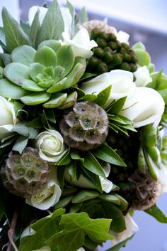 wedding bouquet - white roses and succulents