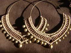 Tribal Macrame Jewelry / Hoop Earrings / Macrame by Kalajadoo, $30.00
