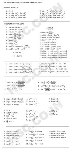HSC- Maths Important Formulas for Board Reference: XII – HSC Board Important Formulas for last minutes preparation. Also check our past paper form Maths (Commerce), Economics, Physics, Chemis… Education Maths Formulas List, Algebra Formulas, Physics Formulas, Physics And Mathematics, Math Tutor, Teaching Math, Math Formula Sheet, Math Websites, Math Charts