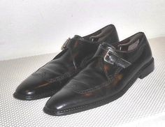 A Testoni Vtg Black Label Black Leather Monk Strap Wing Tip Shoe  11 B  Italy #ATestoni #MonkStrap