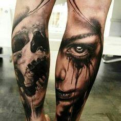 Skull and girl tattoo. Amazing! !!