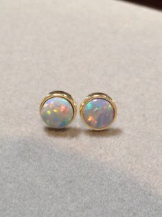 14k Australian Opal Earrings Yellow Gold Black Doublet Round Stud Palladium