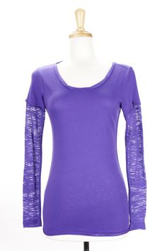 "Dressing Your Truth - Type 1 Grape Jelly Cute-T -  This lightweight two-fer inspired style features contrasting fabrics. The body is an ultra soft cotton-poly sheer jersey and the sleeves a burnout fabric.        60% Cotton, 40% Polyester      Long Sleeve Crew Neck      26"" length from top of shoulder (measurement taken from size small)"