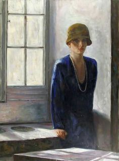 Woman In Hat By Window  -    Marshall Goodman   1960