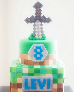Minecraft birthday cake for a super special 8 year old!