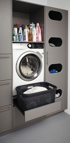 Laundry room, to wash and fold your clothes, basement diy organization decor - Small laundry room ideas #laundyroomideas #basement