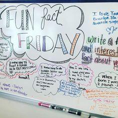 Fun fact Friday -- write a fun and interesting fact about YOU -- whiteboard wisdom Future Classroom, School Classroom, Classroom Activities, Modern Classroom, Classroom Ideas, Classroom Whiteboard, Whiteboard Games, Whiteboard Friday, Morning Board