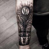 40 Tief und super cool Wald Tattoo-Ideen # Wald # Ideen - Tattoo Ideas - DIY Garden Flower - Cute Home Decorations - Red Hair Styles - DIY Hoop Errings Badass Tattoos, Body Art Tattoos, New Tattoos, Tattoos For Guys, Sleeve Tattoos, Cool Tattoos, Tree Tattoos For Men, Best Forearm Tattoos, Inner Arm Tattoos