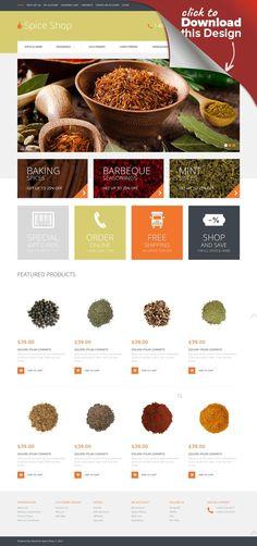 Spice Shop Responsive OpenCart Template E-commerce Templates, OpenCart Templates, Food & Restaurant, Food & Drink Templates, Spice Shop Templates