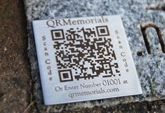 QR Memorials [Quick Response] laser engraves a unique code to headstones allowing you to see the persons pictures, life timeline and pedigree.