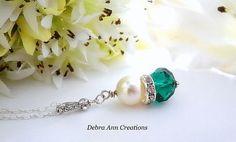 Swarovski Pearl Emerald Crystal Necklace by DebraAnnCreations
