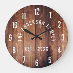 Wall Clock Gift, Diy Clock, Rustic Wall Clocks, Wood Clocks, Wood Detail, Large Clock, Wood Patterns, Brown Wood, Rustic Design