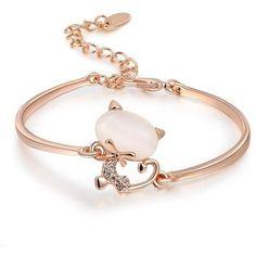 O4U Lovely Cat Opal Stone Three Times of Rose Gold Plating Bangle... ($14) ❤ liked on Polyvore featuring jewelry, bracelets, hinged bangle, bangle bracelet, hinged bracelet, rose gold plated jewelry and stone jewelry