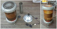 vintage electric heater lamp, diy, home decor, lighting, repurposing upcycling Kerosene Heater, Unique Lighting, Lighting Ideas, Wine Cabinets, Solar Lights, Home Decor Furniture, Light Shades, Modern Chairs, House Painting