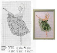 point de croix danseuse tutu vert - cross stitch ballerina green tutu