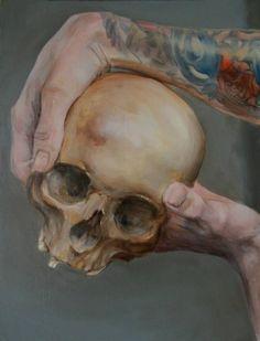 """""""Deux mains et un crâne"""" huile sur bois 39,6x30,1  jb©"""