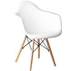 Cadeira Decorativa Branco Fosco, Pés Madeira, Eiffel III - toqueacampainha