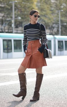 brown leather boots leather skirt and sweater outfit bmodish