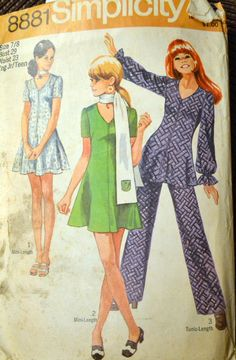 Vintage Sewing Pattern Simplicity 8881 Junior Dress and Pants Size 7/8 Bust 29 COMPLETE by GoofingOffSewing on Etsy $5