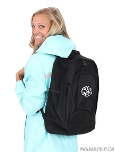 Monogrammed Basic Black Backpack