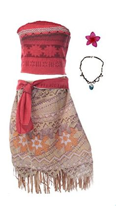 61bccc6a807 MUABABY Moana Girls Adventure Outfit Cosplay Costume Skirt Set with  Necklace 5 years  Top Skirt sugesst Top Skirt sugesst Top Skirt sugesst Top  Skirt ...