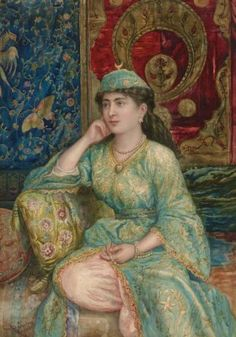 Giulio Ewing (British, 1828-1884)  A Turkish Beauty  signed and inscribed 'Giulio Ewing Roma' (lower left)  watercolor on paper  29½ x 21 in. (75 x 53.3 cm) I Christie's Sale 1774