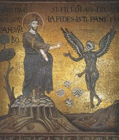 The Temptation of Christ - mosaic in Monreale Cathedral, Sicily, building begun 1174.