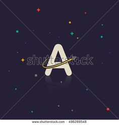Letter A logo with swoosh and rocket, space themed
