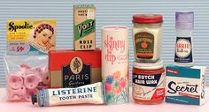 Bathroom collectibles and antiques Spoolie, listerine toothpaste, secret deodorant, arrid, lucky tiger Butch Hair Wax, Skinny Dip, Voit nose clip, Paris garters, hair pomade