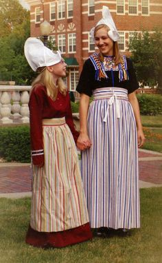 Girls wearing traditional Costume of Volendam, North Holland, The Netherlands