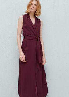 Belt gown - Dresses for Woman | MANGO Georgia