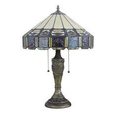 Lampe - Chambre à Coucher - 16 inch Lampe de table style rétro européen Abat-jour en verre à motif de yourte luminaire pour salon chambre salle à manger