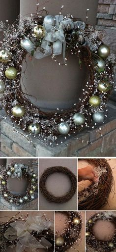 DIY Winter Wonderland Wreath for Christmas. Try dressing up your entryway or fro… DIY Winter Wonderland Wreath for Christmas. Try dressing up your entryway or front yard with this DIY awesome and elegant winter wreath in silver and gold! Christmas Projects, Christmas Crafts, Christmas Ornaments, Christmas Ideas, Ornaments Ideas, Outdoor Christmas, Christmas Pictures, Christmas Inspiration, Noel Christmas