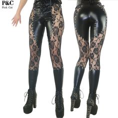 2017 New Gothic Steampunk Pants Clothing Women Laced Up Gothic Punk Rock Leggings Heavy Metal Clothing Studded Faux Leather Pant  ( click or copy-paste http://ali.pub/1kysix )