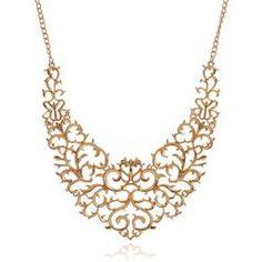 Metallic Hollow Carved Necklace, Hollow Bib  Vintage Pendants Necklace Collier Femme
