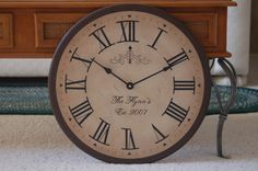 Large Wall Clock 18 inch Tuscan Antique Style Gallery Round Personalized Big Framed via Etsy