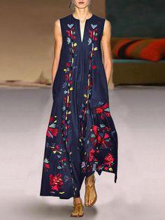 VONDA Cuello de pico sin mangas con estampado floral bohemio Plus Talla Maxi Vestido - NewChic