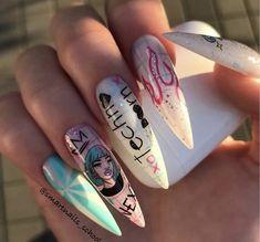 Cute Acrylic Nail Designs, Long Nail Designs, Cute Acrylic Nails, Edgy Nails, Stiletto Nails, Swag Nails, Pink Tip Nails, Makeup Tips For Redheads, Sculpted Nails