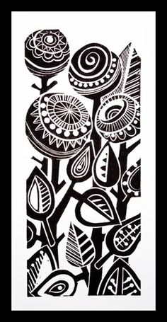 Abstract Flowers lino print  -like the style, dark thick shapes contrasting with thin compact lines
